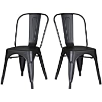 Christies Home Living Stackable Matte Black Metal Industrial Dining Chair 18-inch Seat Height with Back, Set of 2