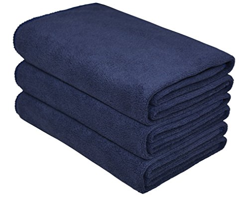 Hope Shine Microfiber Sports Towel Fast Drying Gym Towels 3-Pack 16inch X 32inch (Navy Blue 3-Pack) (Sport Towel Terry)