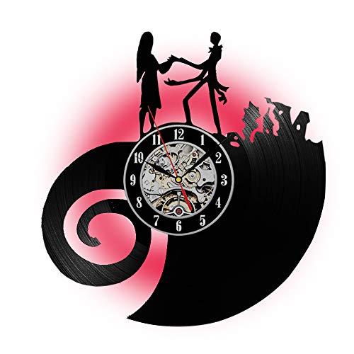 Fashion Nightmare Before Christmas Vinyl Record Wall Clock LED Lamp Night Light-Romantic 7Color Changing Creative Home Art Silent Quartz Movement-Modern Design Interior Decoration-Gift for Mom Girls