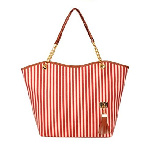 Gallity Women Girl Stripe Tassels Chain Canvas Shopping Handbag Shoulder Tote Shop Bag (Red)