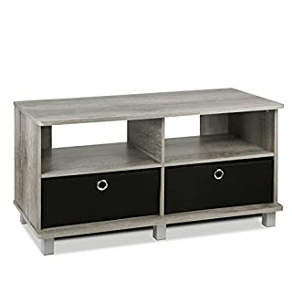 FURINNO Andrey Entertainment Center with Bin Drawers, French Oak Grey/Black