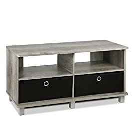 FURINNO 11156GYW/BK Entertainment Center W/2 Bin D...