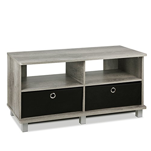 FURINNO 11156GYW/BK Entertainment Center W/2 Bin Drawers, French Oak Grey Beech Entertainment Center