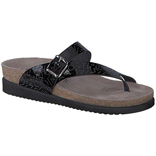 Mephisto Womens Helen Laser Black Leather Sandals 40 EU