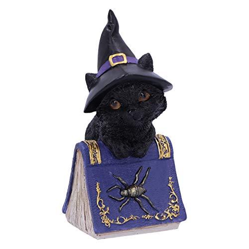 Nemesis Now Pocus-Figura de Gato Negro y Libro de hechizos, Morado, 12.7cm
