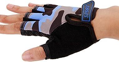 Kids Cycling Gloves Camouflage Style Girls Boy Half Finger Bike Riding Gloves/Children Fingerless Short Outdoor Sport Gloves Breathable Anti-slip/Mitten for Exercise Skate Skateboard Roller Skating