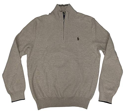 (Polo Ralph Lauren Men's Pullover Half Zip Pima Cotton Sweater (Oatmeal Heather, Large))