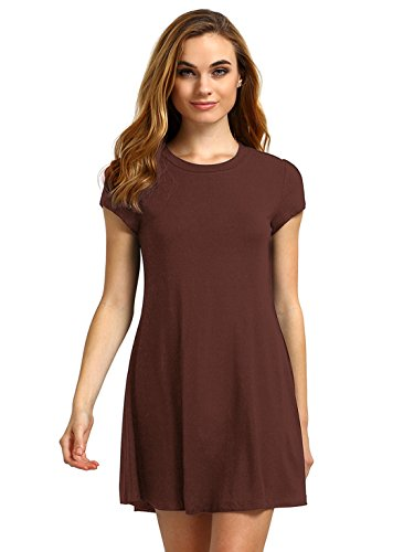 ROMWE Women's Short Sleeve Shirt Casual Swing Dress Brown (Brown Juniors Dress)