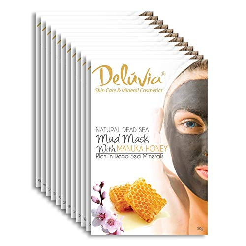 Dead Sea Mud Mask with Manuka Honey for Face and Body, Great for Blackheads, Pore Minimizing, Exfoliating, Purifying, Detoxifying, Perfect for Dry, Oily or Combination Skin, 12 Pack. by Deluvia