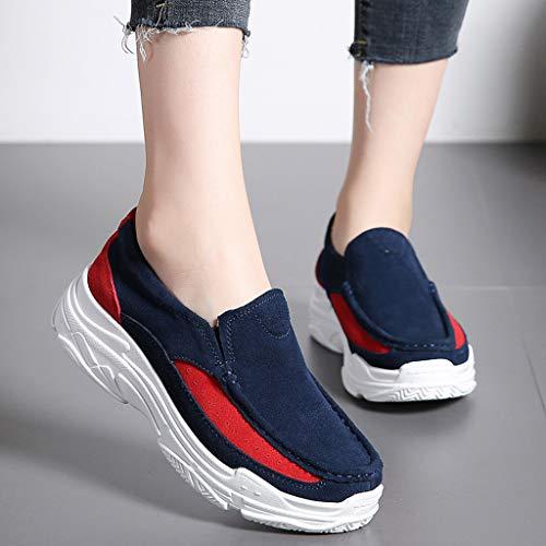 Nuovi Vintage Ginnastica Donna Scarpa Sneakers Pu Zeppa Sport Pantofola Shoes Casual Moda Stampa Women 2019 Respirante Running Blu Ihengh Ragazza Pigire Scarpe Rete Estate Francesina OFBqwWxEEn