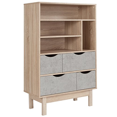 - Flash Furniture St. Regis Collection Bookshelf and Storage Cabinet in Oak Wood Grain Finish with Gray Drawers