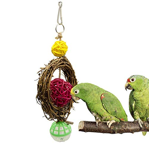 (Bird Toys - Parrot Toys Bird Swing Cage Ball Cockatiel Parakeet Pet Bites Climb Chew Hanging - Rings Coconut Food Macaws Hang Toddlers Clearance Hoop Lovebirds Stainless Blocks Cockatoo Kids)