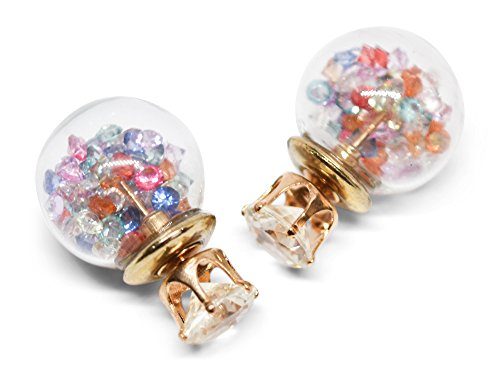 Multi Color Gems Ring (bulb. - Acrylic Ball Back Stud Fashion Earrings - Gems - 2 Pack (Multi-Color / Green))