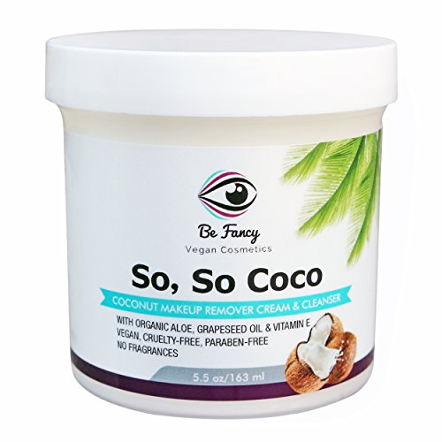 So, So Coco Makeup Remover & Cleanser Cream, 5.5 oz. Moisturizing and Non-Irritant with Aloe & Vitamin E for Face, Lips, Eyes, Sensitive & Dry Skin. Paraben-Free, Vegan, Unscented Hypoallergenic Moisturizing Makeup Remover
