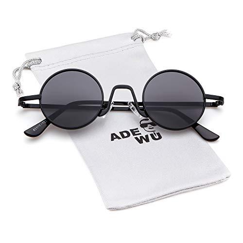 Negro con Style de Eyewear Redondo Gafas sol metal Mujeres Marco 1 borde Street ADEWU Vintage fino Lente Gris ovaladas Hombres de 8YU5qnw