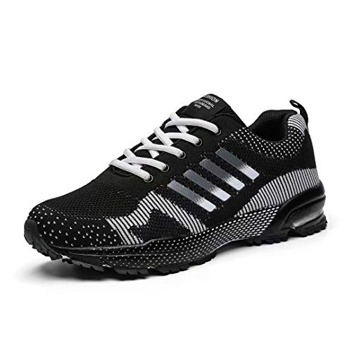 Huacud Men Running Shoes Athletic Trail Sneakers Knit Volleyball Sports Shoe Light Fitness Training Non Slip Shoe for Male Hiking All/Black45 (Best Mens Volleyball Shoes)
