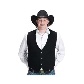 Mens Black Cotton Denim Western Vest-Small