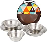 Bisgear Stainless Steel Plates Bowls Mess Kit 7pcs Backpacking Camping Kitchen Dinner Dish Family Set Outdoor