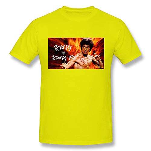Jiacheng Design T-Shirts Casual Chinese Kung Fu Bruce Lee Short Sleeve Top T-Shirts for Men's Yellow