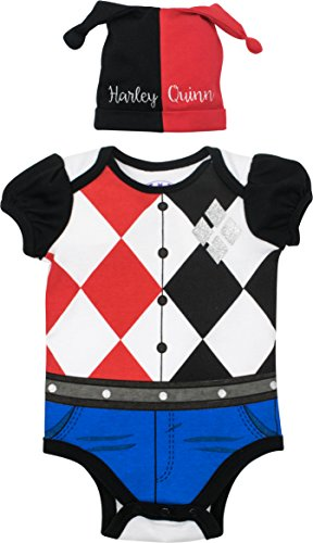 Warner Bros. Suicide Squad Harley Quinn Baby Girls' Costume Bodysuit Hat, Black Red (0-3 Months)
