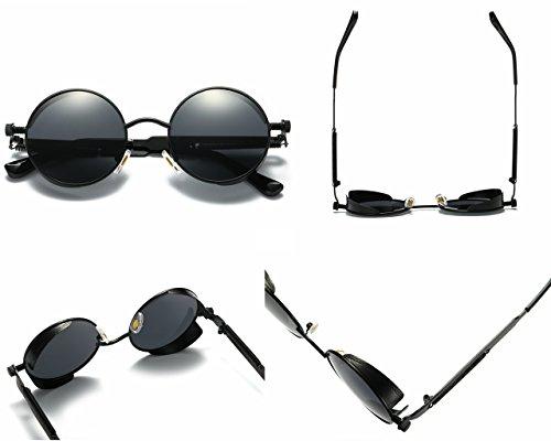 Femmes Classique 400 Rondes 1 Lennon Lunettes Noir Soleil Lunettes Noir DAWILS de Soleil Métal de John UV Polarisées en Rétro qwIB4x8A