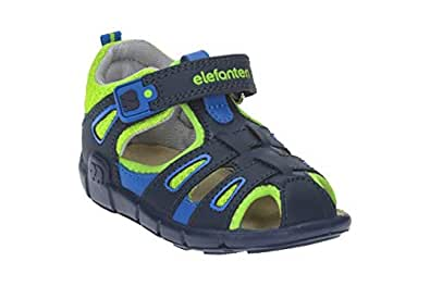 elefanten Boys -Toddler Extra Comfort Closed Toe Sandals - Anatomic Interior Leather Padding for Maximum Foot Protection, Perfect Ventilation and a Unique Design - Size 5 AU - Blue/Green