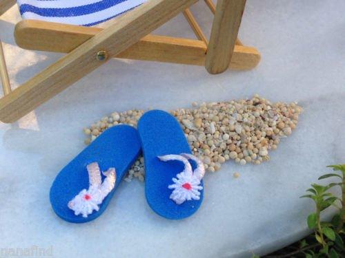 Miniature Dollhouse FAIRY GARDEN / Seaside Beach Blue Flip Flops Review