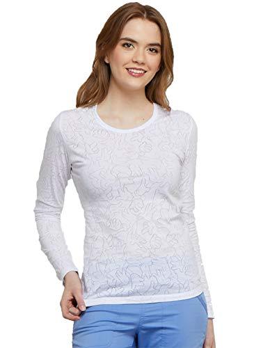 Cherokee Tooniforms Women's Long Sleeve Mickey Mouse Print Underscrub T-Shirt Large Mickey Hands White