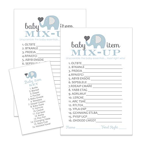 Paper Clever Party Blue Elephant Baby Shower Games Word Scramble Cards ( 25 Pack )