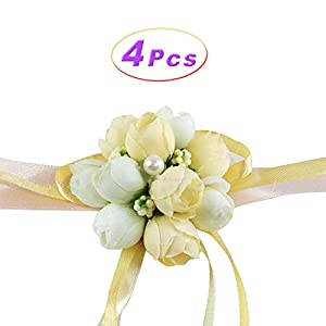 Wedding Wrist Flower Hand Flower Wristband Corsage for Wedding/Party/Prom/Children Dance Show, Pack of 4 (Champagne) 56