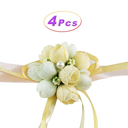 Wedding Wrist Flower Hand Flower Wristband Corsage for Wedding/Party/Prom/Children Dance Show, Pack of 4 (Champagne)