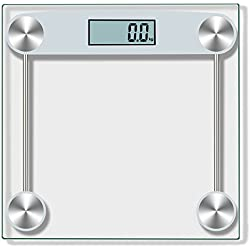 WensLTD Body Weight Scale, Digital Body Weight Bathroom Scale With Body Tape Tempered Glass 150KG/330 Pounds (Ship From US) (Silver)