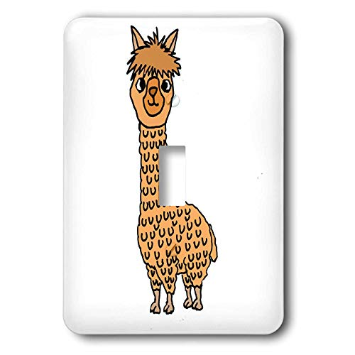 Novelty Single - 3dRose All Smiles Art Animals - Funny Cute Alpaca Cartoon for Llama and Alpaca Lovers - Light Switch Covers - single toggle switch (lsp_288101_1)