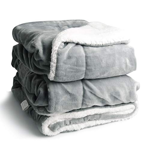 Edow Faux Sherpa FlannelThrow Blanket, 600GSM Thickened Reversible Soft Fleece Blanket for Couch, Sofa, Bed. (Light Gray, Throw(45