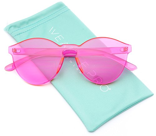 WearMe Pro - Colorful Transparent Round Super Retro - Sunglasses Pink Colored