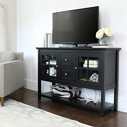 Media Console Table with Storage - Large Glass Doors TV Stand - Entertainment Center or Sideboard - This Piece of Furniture is Multipurpose (Black)