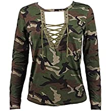 Fashion Women Long Sleeve Shirt Slim Casual Blouse Camouflage Tops Print by TOPUNDER