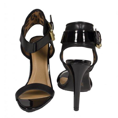 Squisita Tacco Alto Da Donna Ingrid Open Toe Con Cinturino Alla Caviglia Regolabile In Similpelle Nera