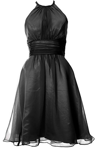 MACloth Women Halter Short Bridesmaid Dress Wedding Party Cocktail Formal Gown Negro