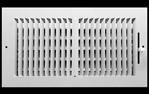 16″ X 8″ 2-Way-Vertical AIR Supply Grille – Vent Cover & Diffuser – Flat Stamped Face – White [Outer Dimensions: 17.75″w X 9.75″h]