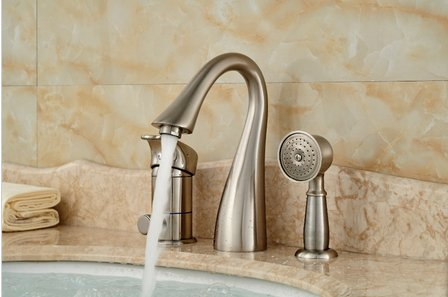 GOWE Brushed Nickel 3 PCS Tub Faucet Hand Sprayer W/ Diverter Sink Mixer Tap by Gowe