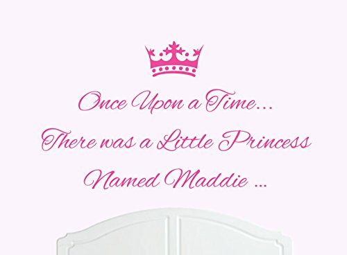 Once Upon a Time There was a Little Princess Named Maddie Large Wall Sticker / Decal Bed Room Art Girl / (Maddie Kids Bed)