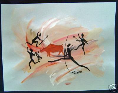 (Untitled [Original Painting, Bushmen, After African Rock Art])