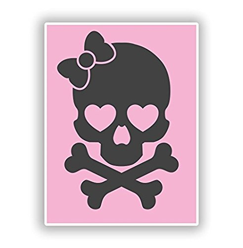 Cute Pink Skull Vinyl Stickers Scary Horror Halloween Creepy - Sticker Graphic - Sticks to Any Smooth Surface - Cars, Walls, Cellphones, Laptops, Windows -