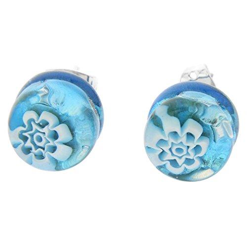 (GlassOfVenice Murano Glass Venetian Reflections Round Stud Earrings - Aqua Silver)