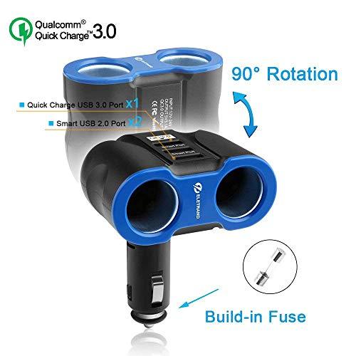 Eletrand QC3.0 USB Car Charger Adapter 2 Socket 3 USB Car Cigarette Lighter Adapter |Car Splitter with 2 Way Charging,12v / 24v Car Socket Charger Adapter, Build-in Safer Fuse