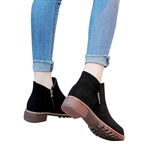 Flat Suede Heel Booties Womens Faux Zipper Inside Shoes Black Walking VFDB Ankle R0nxUWv5qv