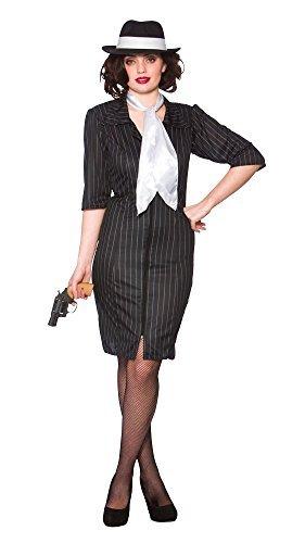 [Gangster Gal and Hat Ladies Fancy Dress Costume (Women: 10-12) by Mega Fancy Dress] (Female Gangsters)