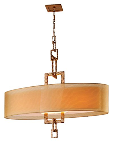 "Troy Lighting Link 42""W 4-Light Pendant - Bronze Leaf Finish with Hardback Organza Shade"