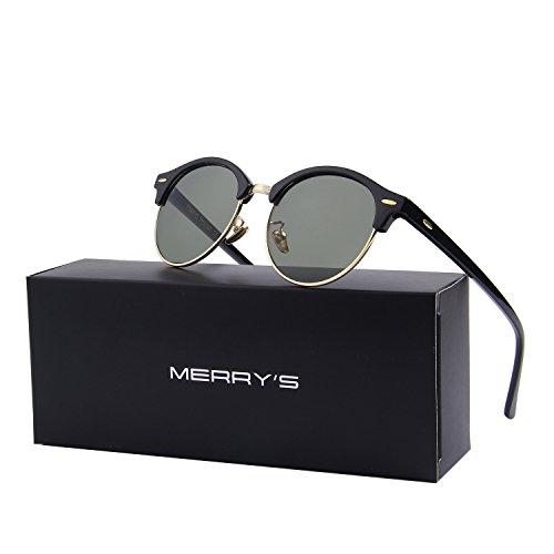 MERRY'S Polarized Sunglasses for Men Women Semi Rimless Retro Brand Sun Glasses S8054 (Gold&Green, - Cheap Brands Sunglasses
